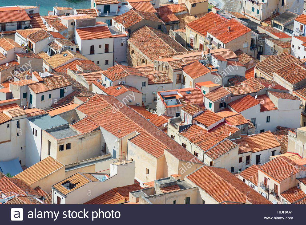 Aerial view of Cefalu from La Rocca, Cefalu, Sicily, Italy, Europe - Stock Image