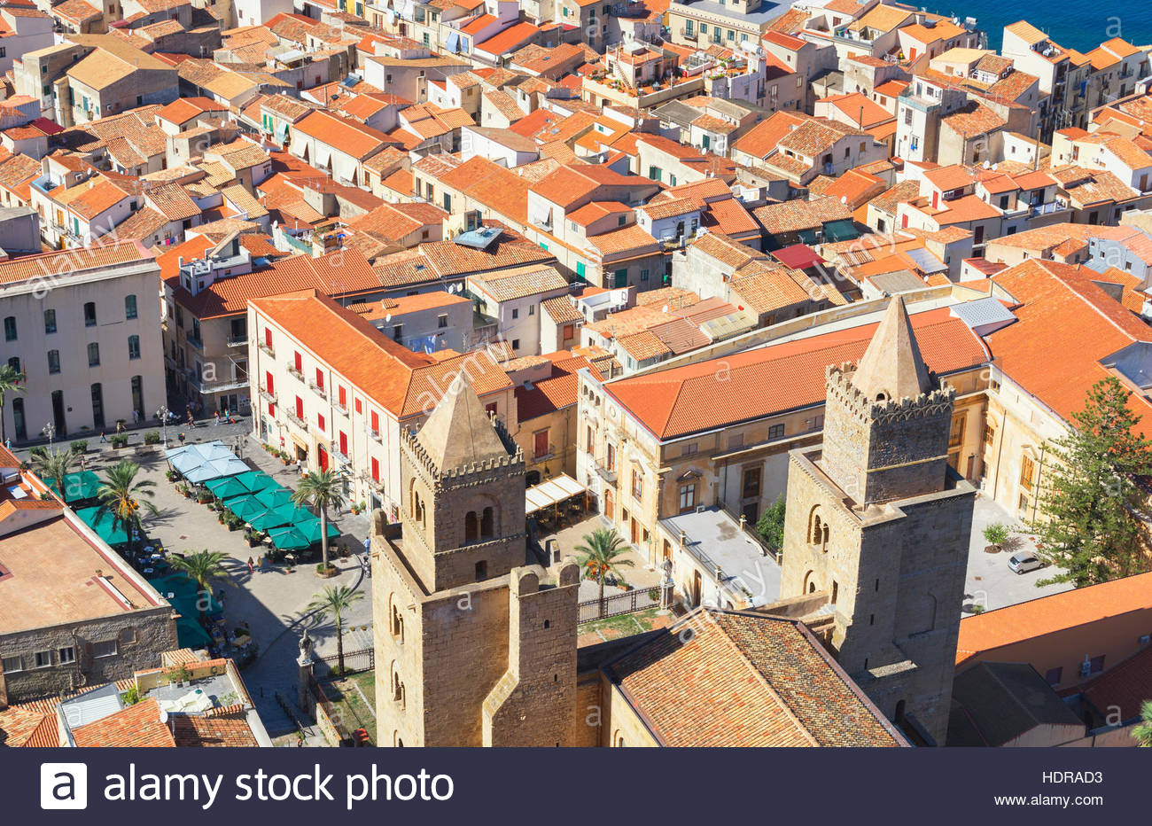 Cathedral San Salvatore, Piazza Duomo, Cefalu, Sicily, Italy, Europe - Stock Image