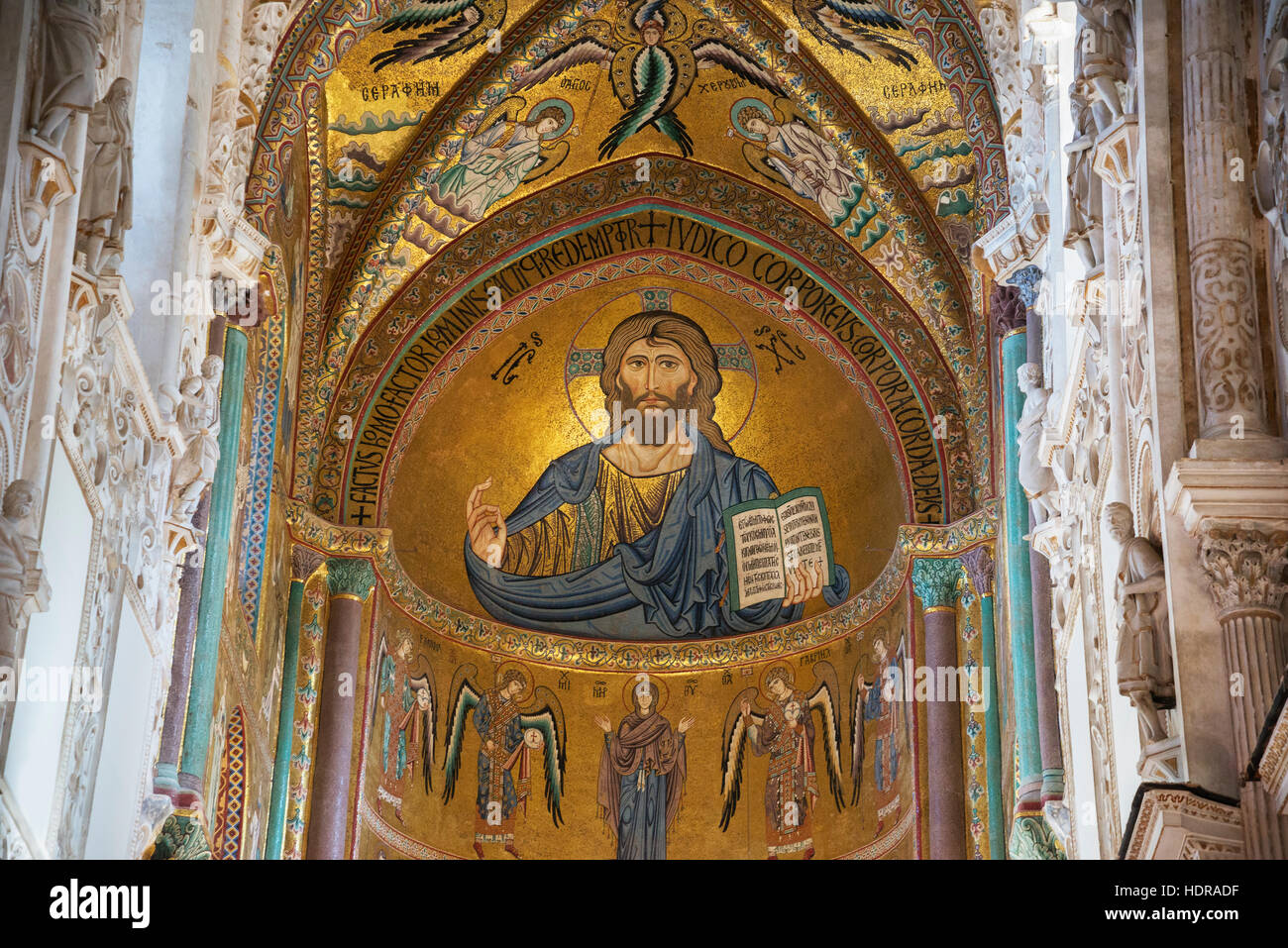 Christ Pantocrator, Cathedral San Salvatore, Cefalu, Sicily, Italy, Europe - Stock Image