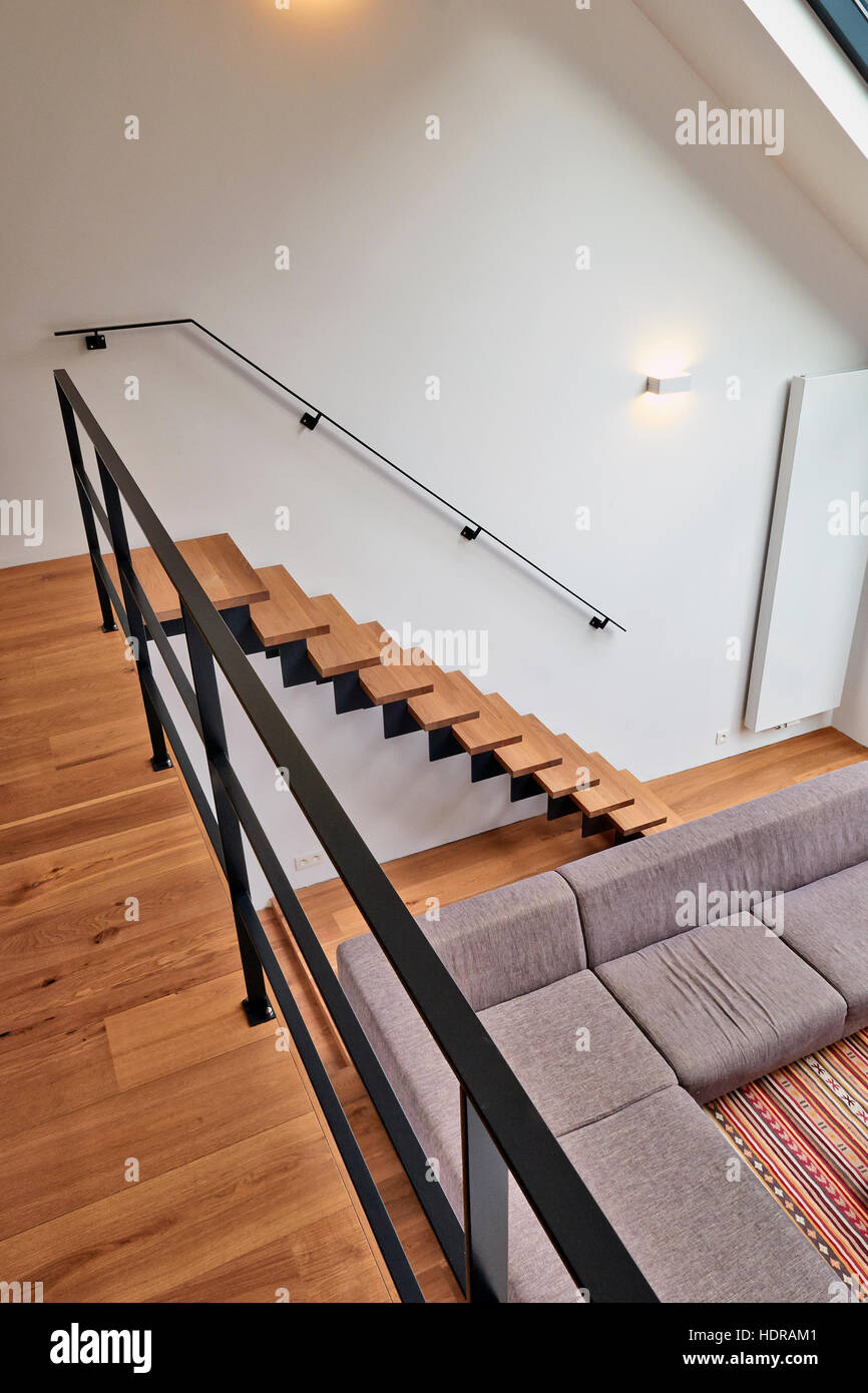 Modern Wooden Stairs View From Above Stock Photo 128976401 Alamy