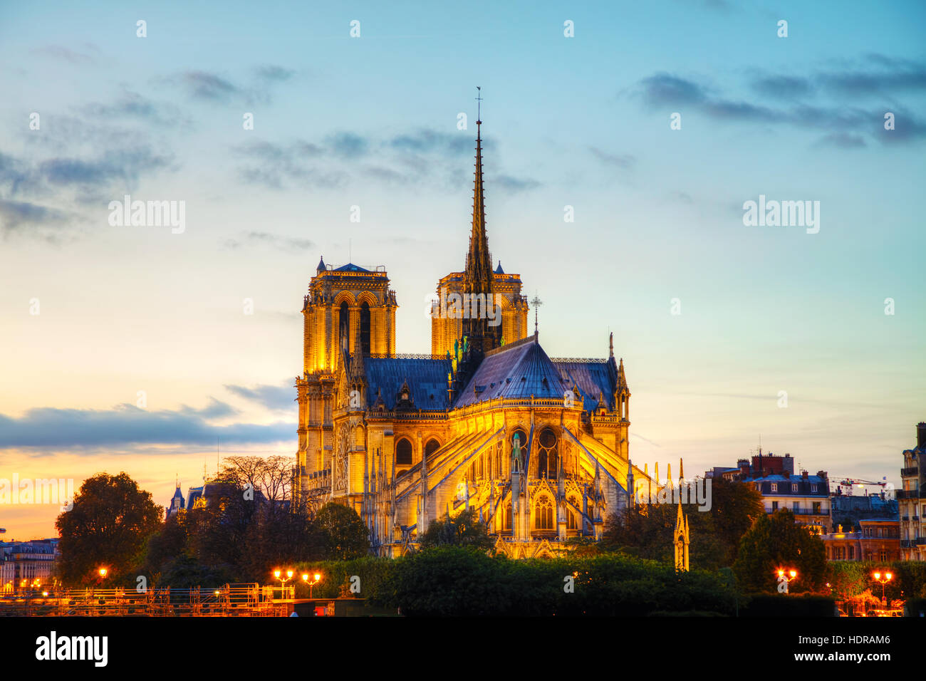 Notre Dame de Paris cathedral at night Stock Photo