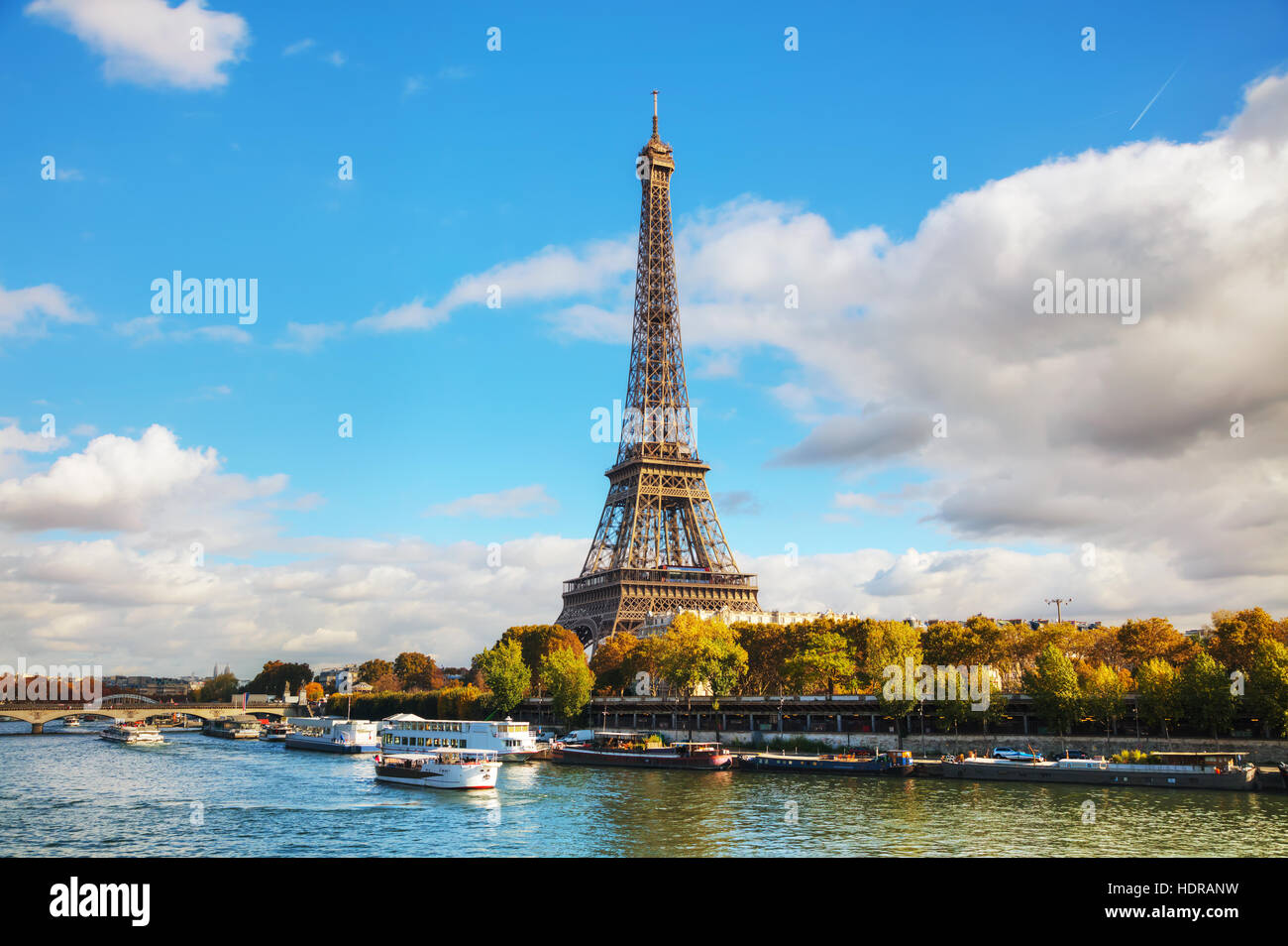 Cityscape of Paris with the Eiffel tower on a sunny day Stock Photo