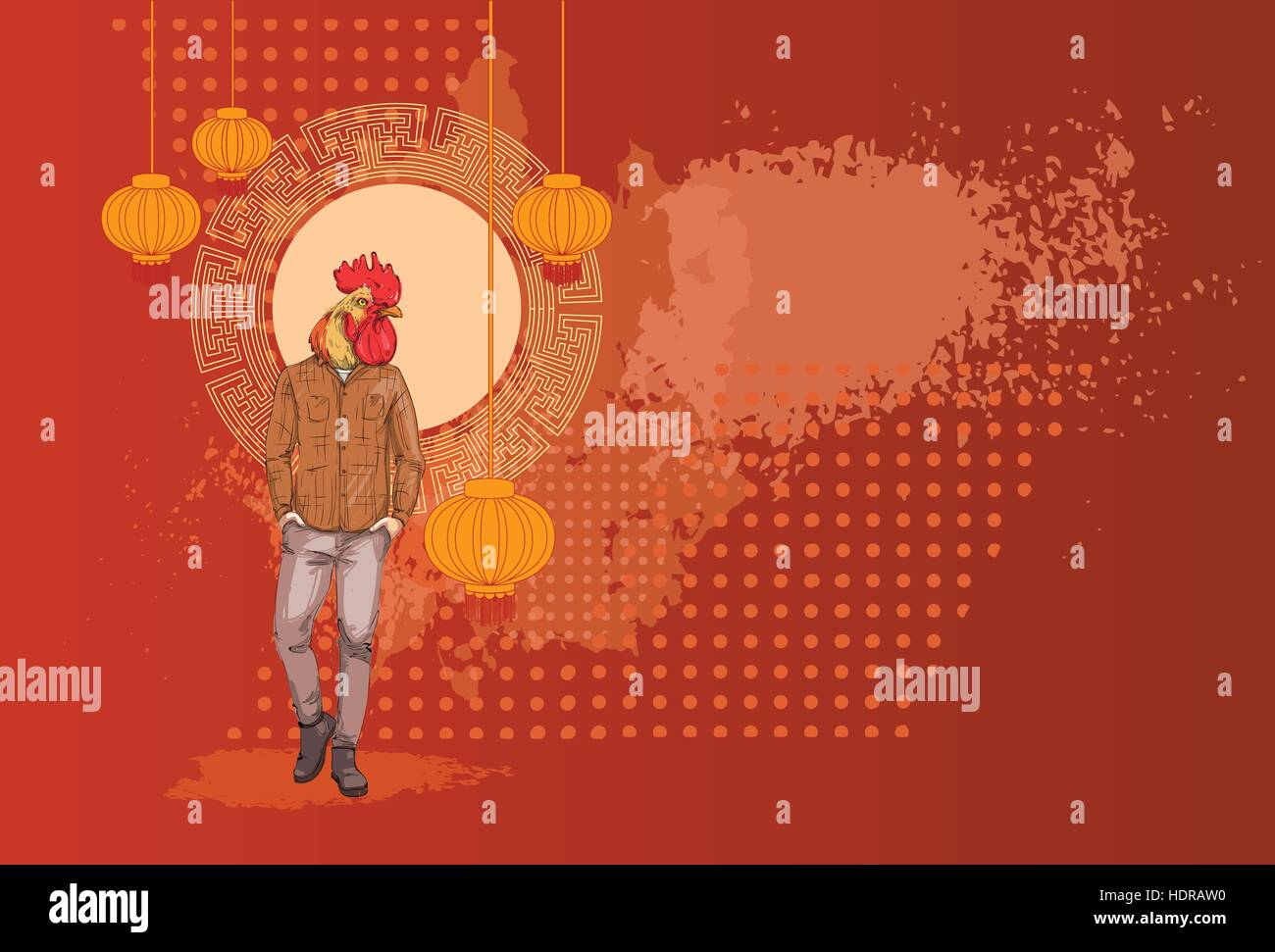 cartoon rooster hipster wearing jeans over chinese traditional background happy 2017 new year symbol