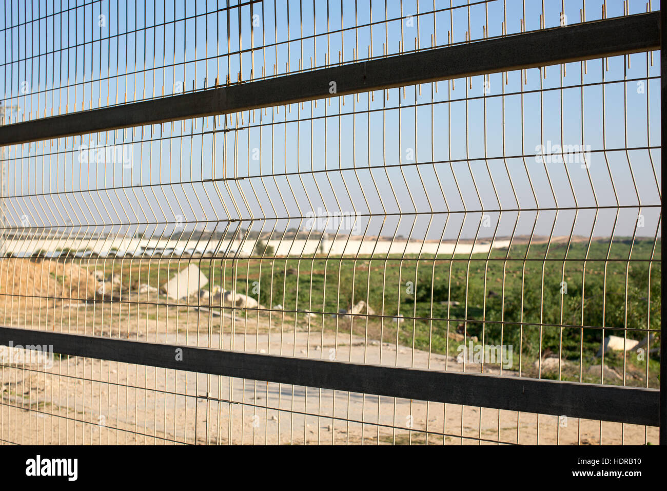Walking through the covered tunnel at the Erez crossing from Gaza to Israel. - Stock Image