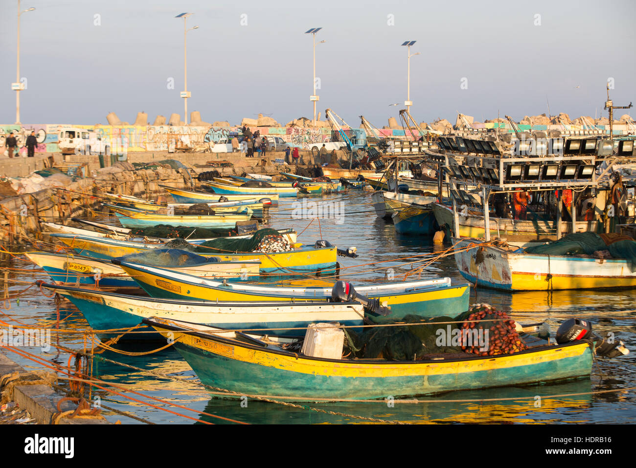 Fishing boats in the port at Gaza city - Stock Image