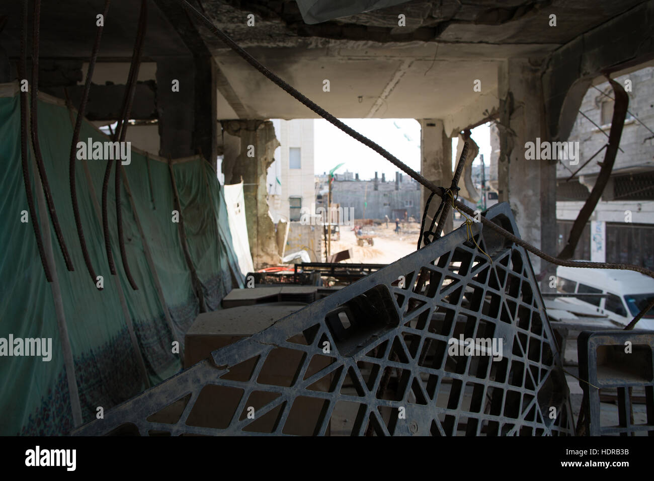 Inside a house destroyed by an Israeli strike, Gaza city - Stock Image