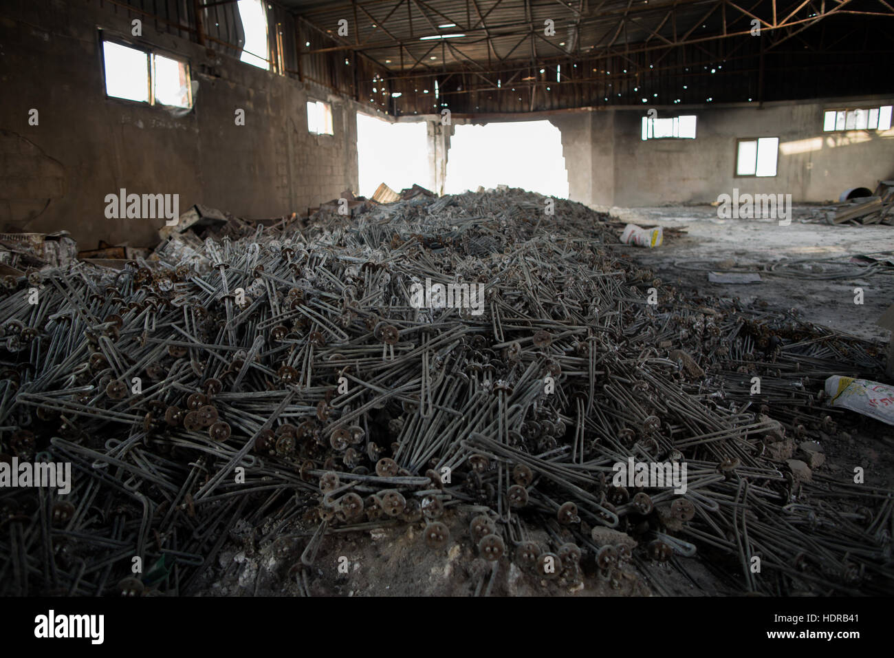 A large batch of heating filaments, the remains of boilers after a ...