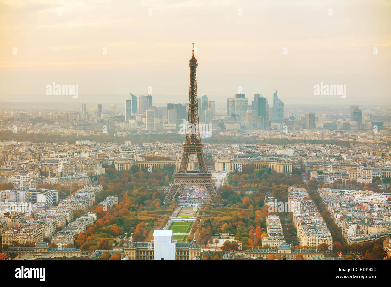 Aerial overview of Paris with the Eiffel tower Stock Photo