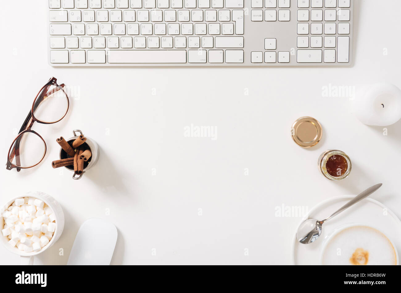 Top view of a freelancers workplace - Stock Image