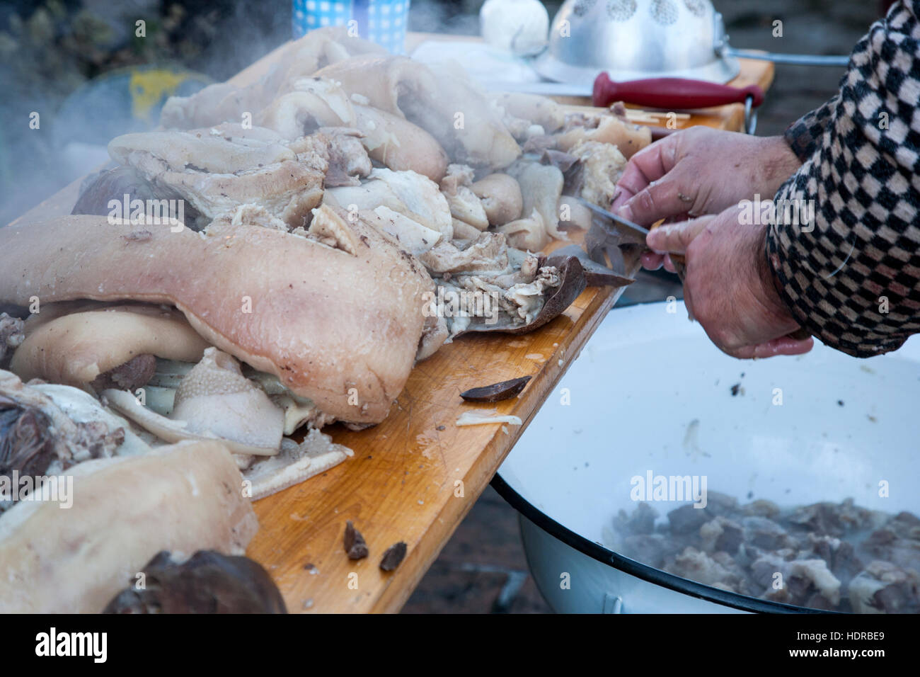 Traditional pig killing in Moravia, Czech Reoublic - Stock Image