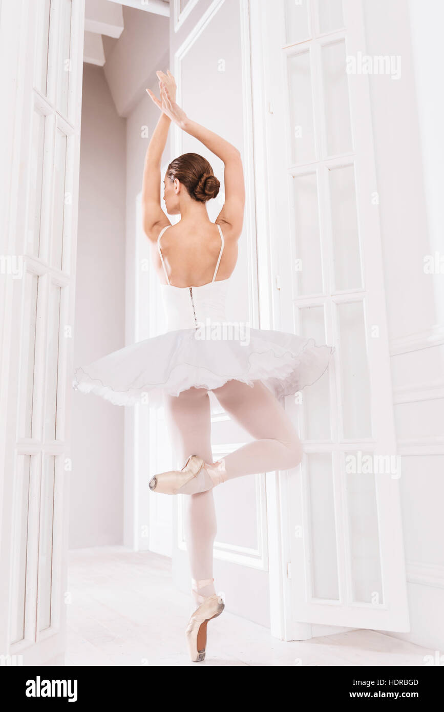 Young ballet dancer standing on tiptoes - Stock Image