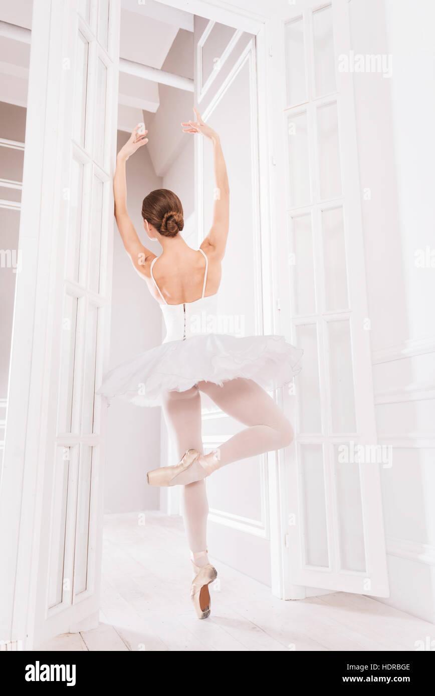 Classical dancer posing in ballet class - Stock Image