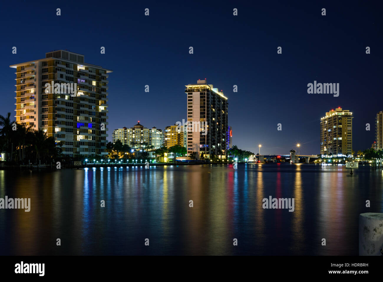 Apartments at night alongside the waterways of Fort Lauderdale in Florida Stock Photo