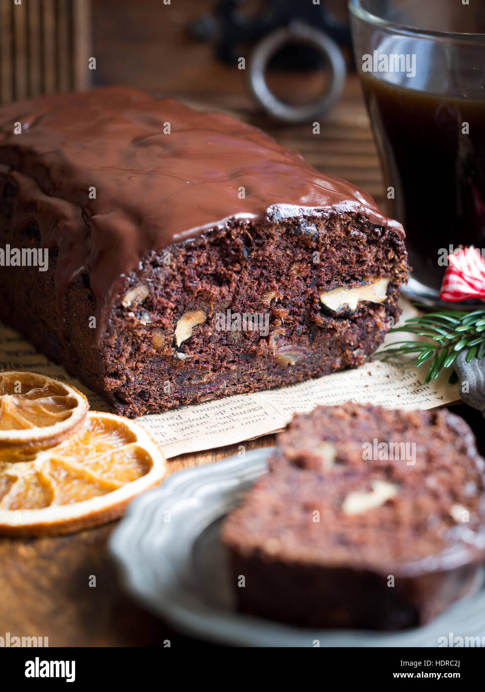 Gluten-free gingerbread made with green banana flour, dates and nuts. Stock Photo