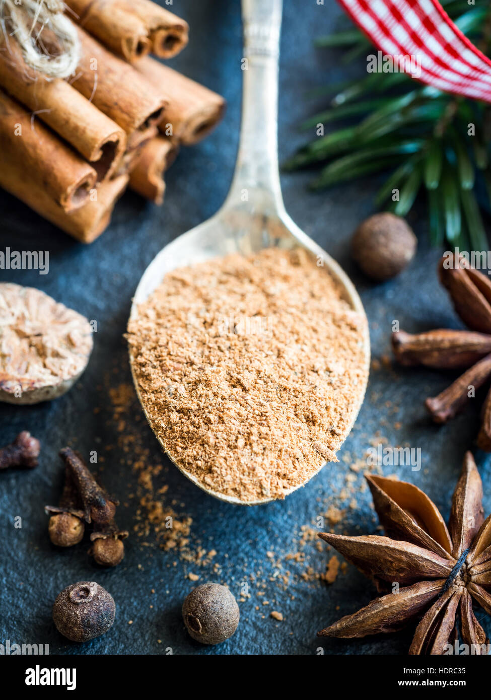 Gingerbread spice on a spoon. Close up. - Stock Image
