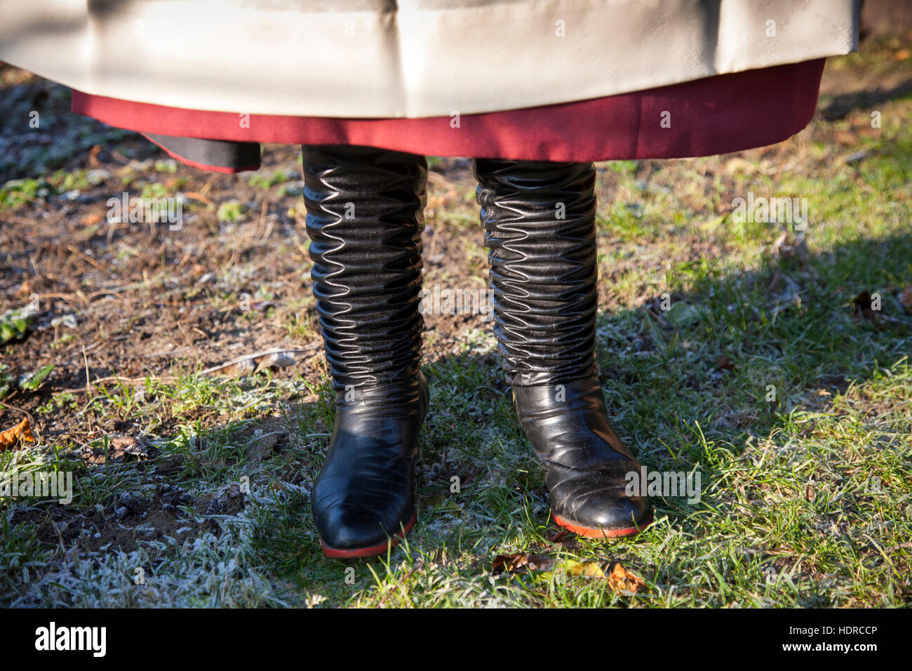 Woman from the Lanzhot region of southern Moravia wears big skirts and  boots as part of her traditional costume - Stock Image