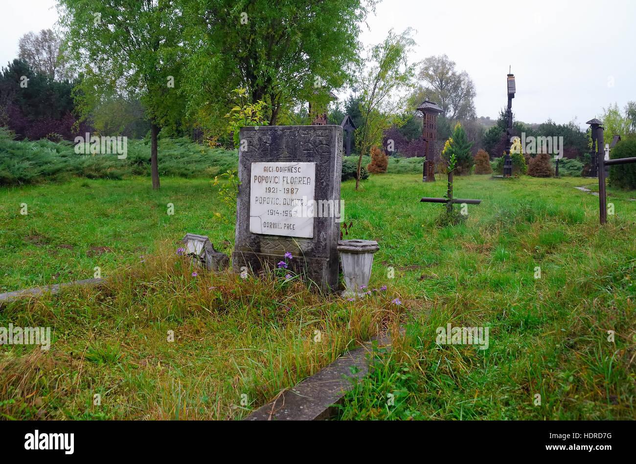 Sighetu Marmatiei, Maramures region, Romania. The Cimitirul Saracilor (English : Cemetery of the Poor), in the outskirts Stock Photo