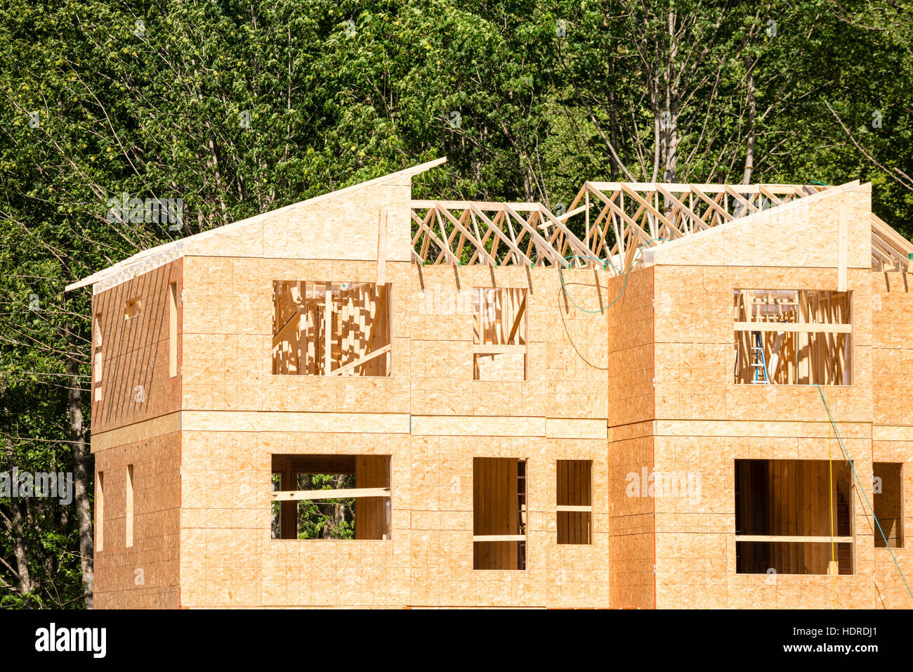 Wood Frame Apartment Housing Building Construction Industry - Stock Image