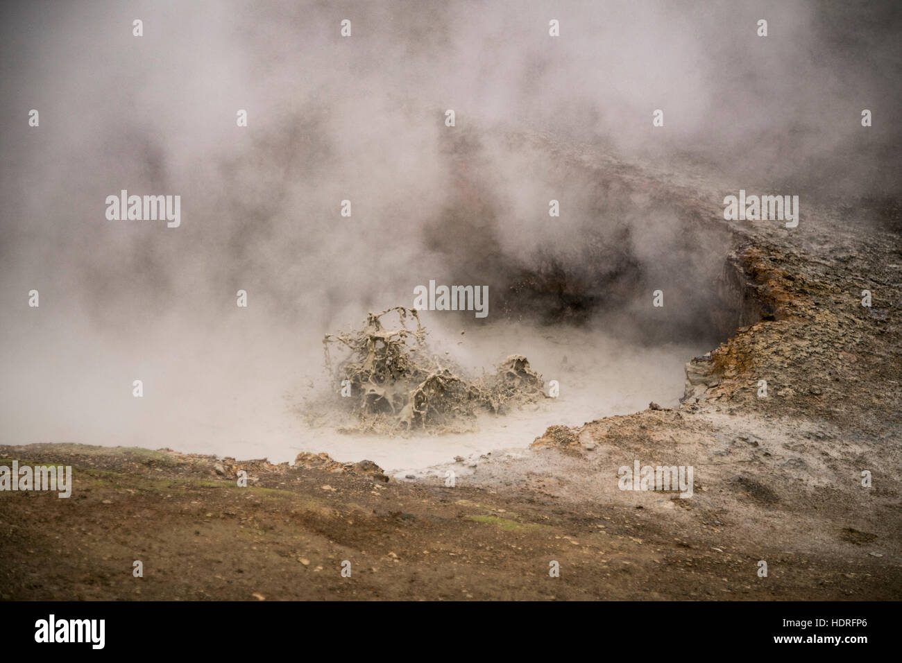 Gunnuhver mud pools and steam vents - Stock Image