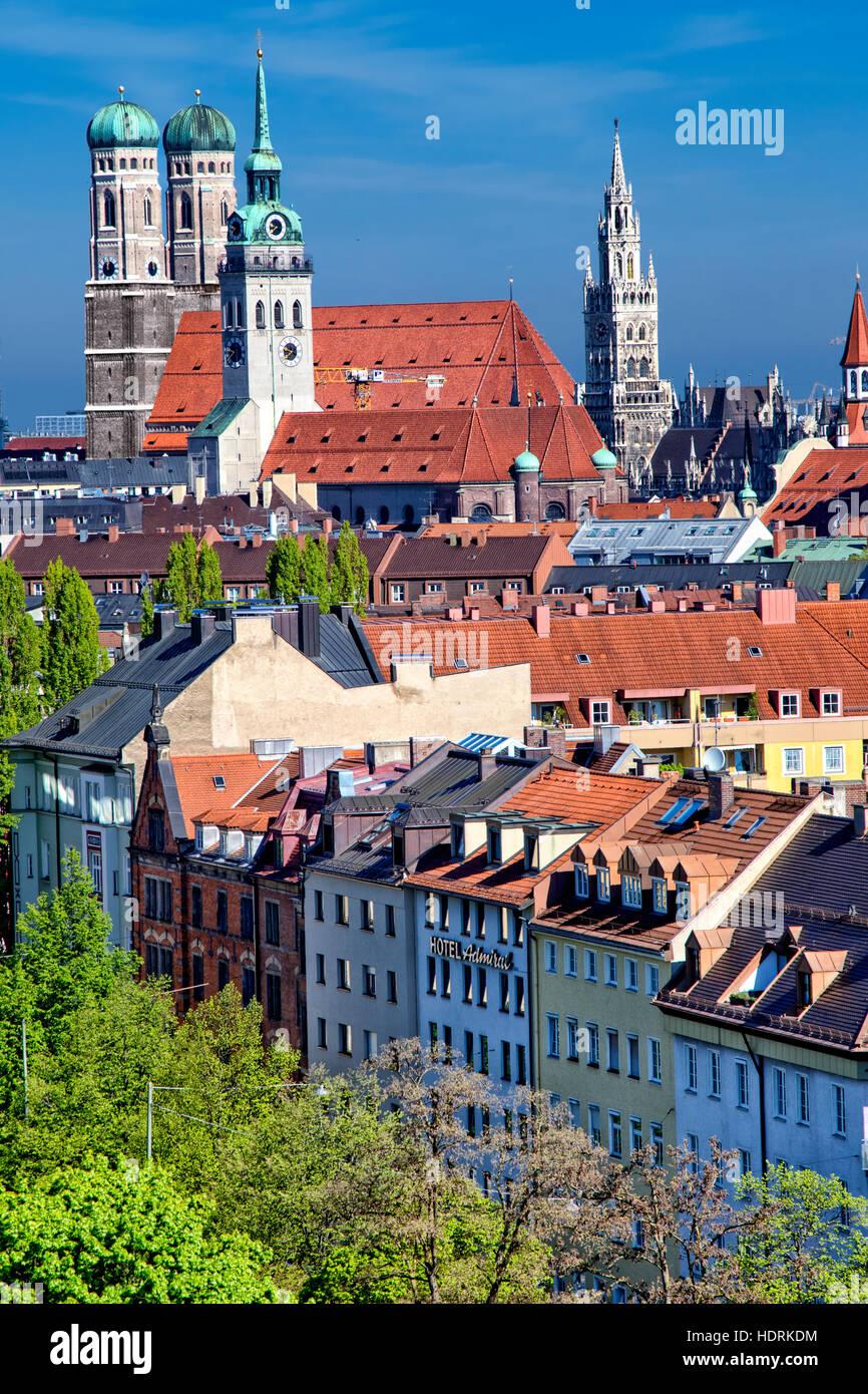 Munich skyline - Stock Image