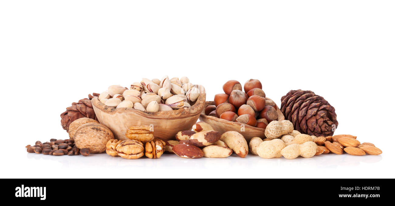 Various nuts. Isolated on white background - Stock Image