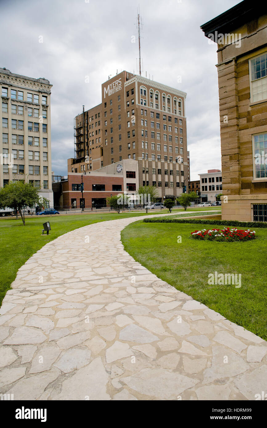 Myers Building viewed from Old State Capitol, Springfield, Sangamon County, Illinois, USA - Stock Image
