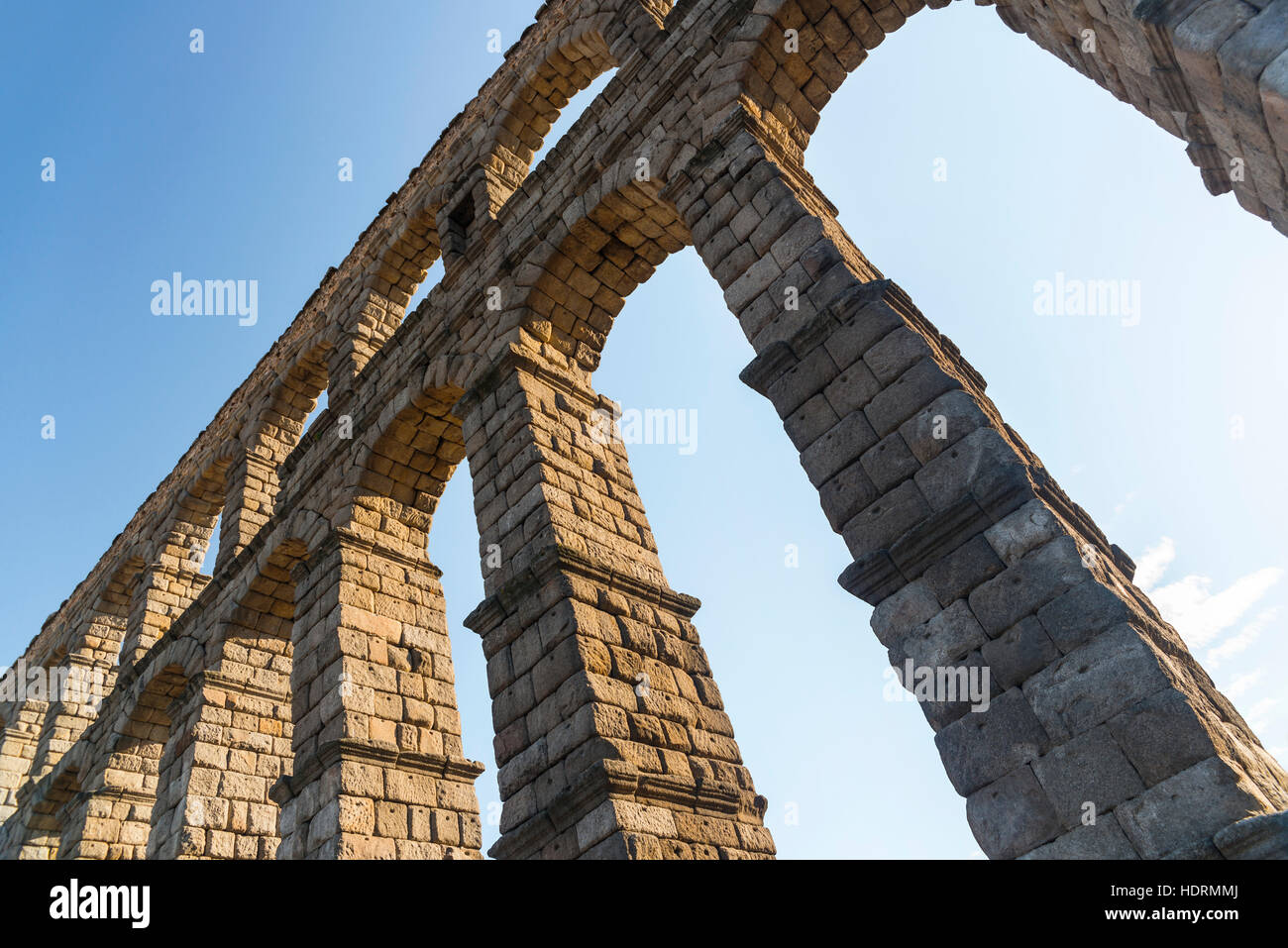 Segovia's Aqueduct is one of the architectural symbols of Spain, built in the 2nd Century A.D; Segovia city, Castilla Stock Photo