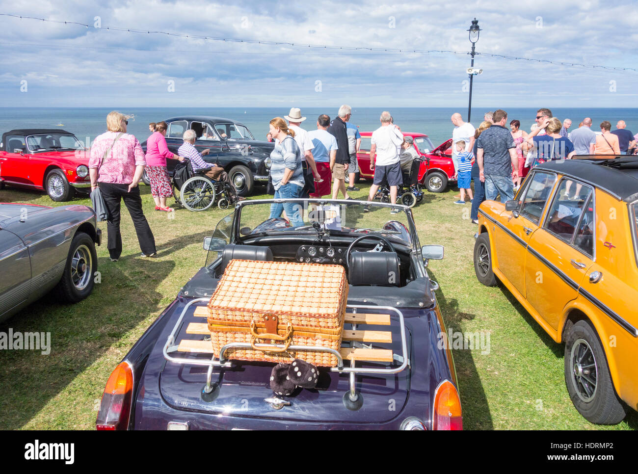 classic car display during Whitby Regatta weekend. Whitby, North Yorkshire, England. UK - Stock Image