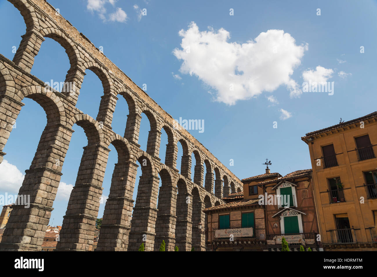 Segovia's Aqueduct, one of the architectural symbols of Spain, built in the 2nd Century A.D; Segovia city, Castilla Stock Photo