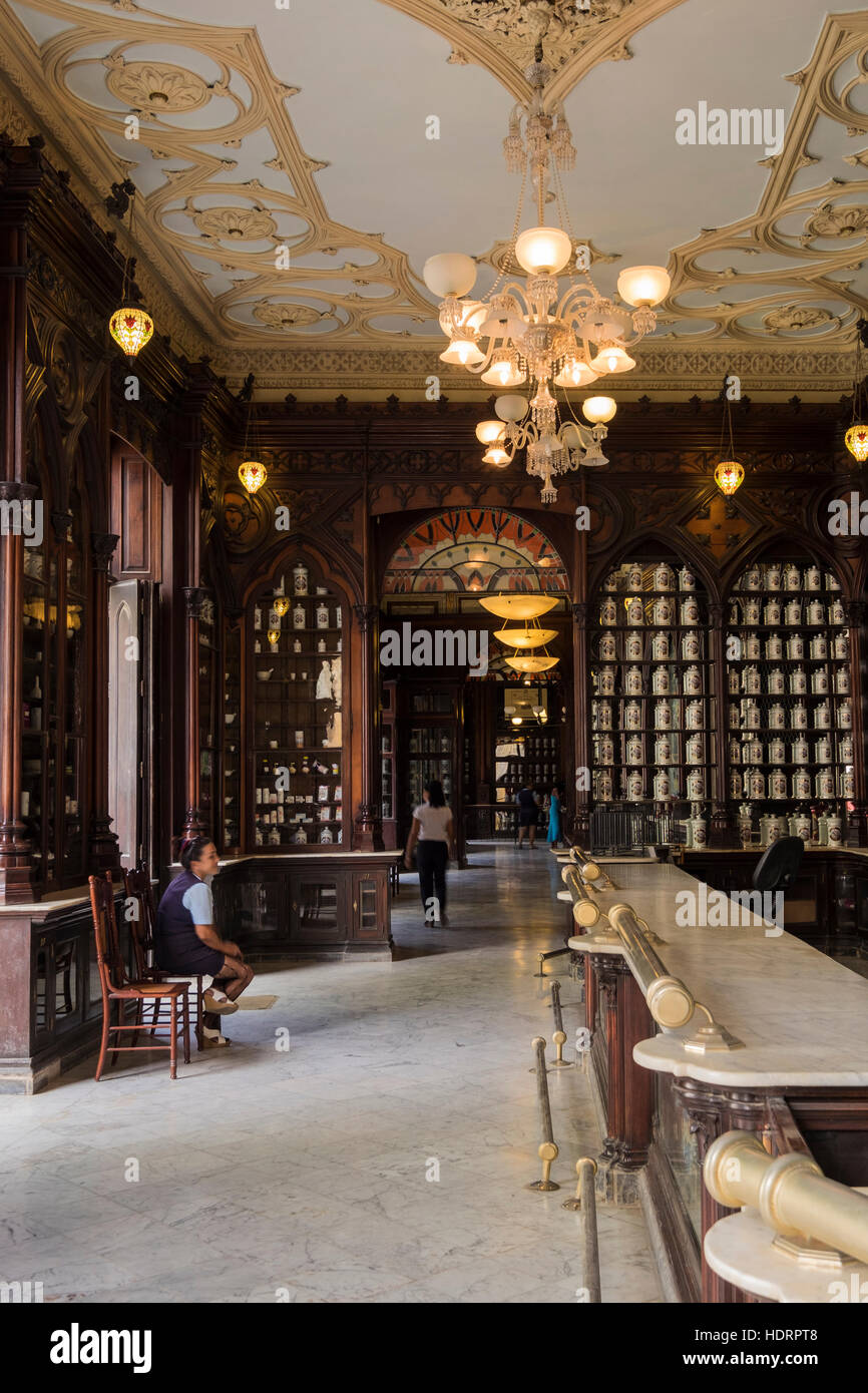 Interior Of The Art Deco Style Museo De Farmacia, Pharmacy Museum, Shop, La  Havana, Cuba.