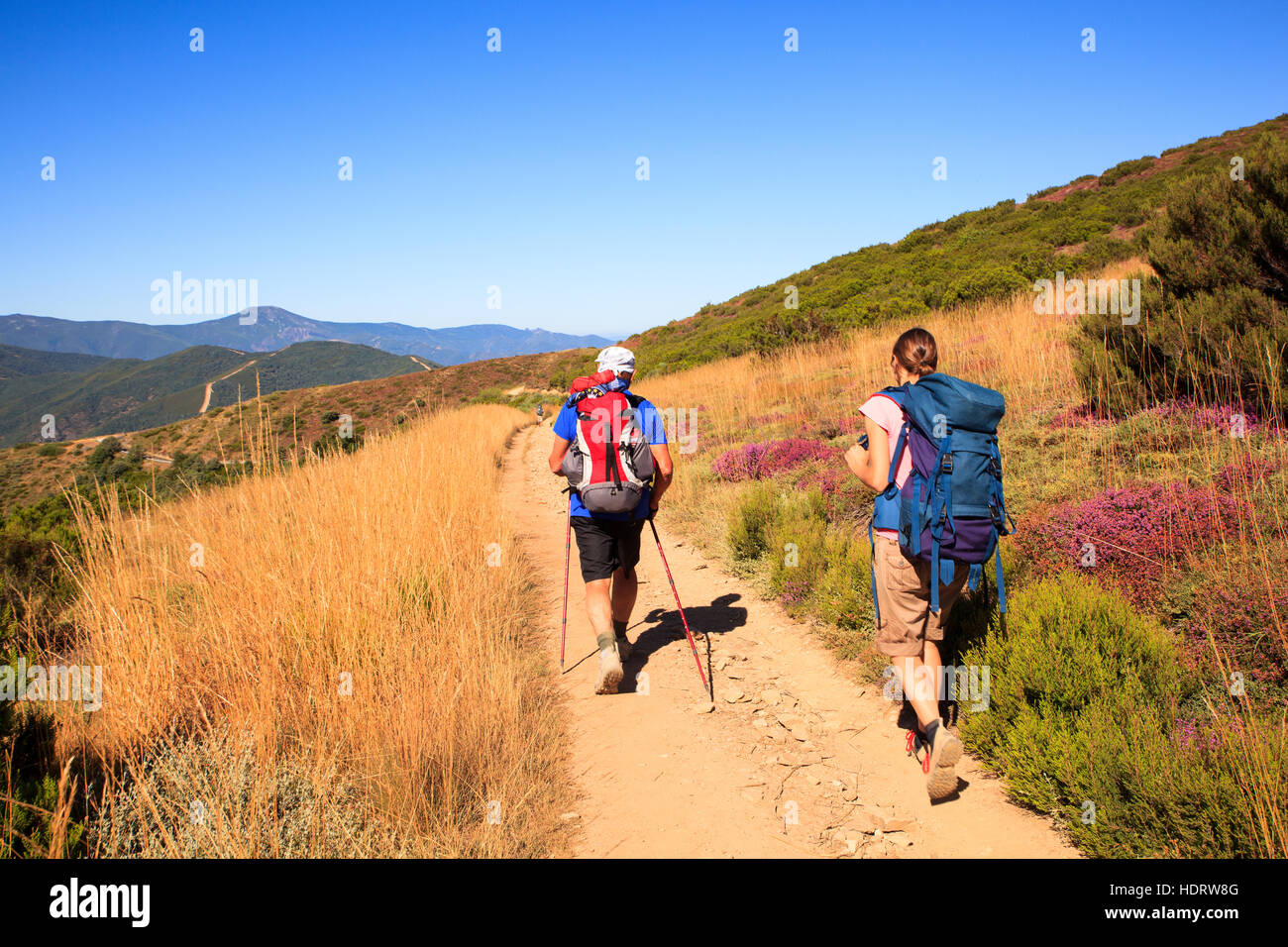 RABANAL, SPAIN - AUGUST, 05: Pilgrimns along the way of St. James on August 05, 2016 Stock Photo