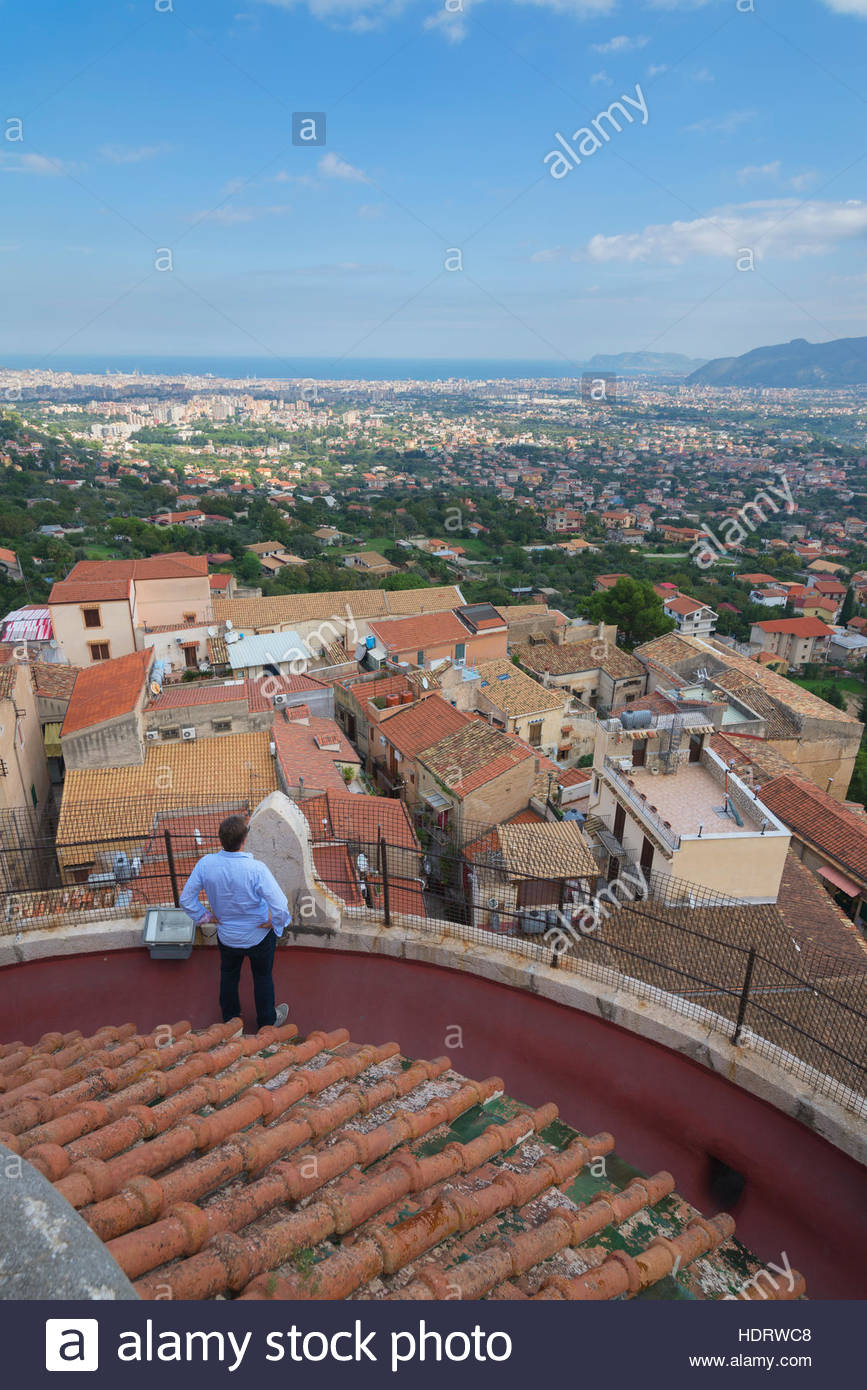 Monreale view from Monreale Cathedral, Monreale, Sicily, Italy - Stock Image
