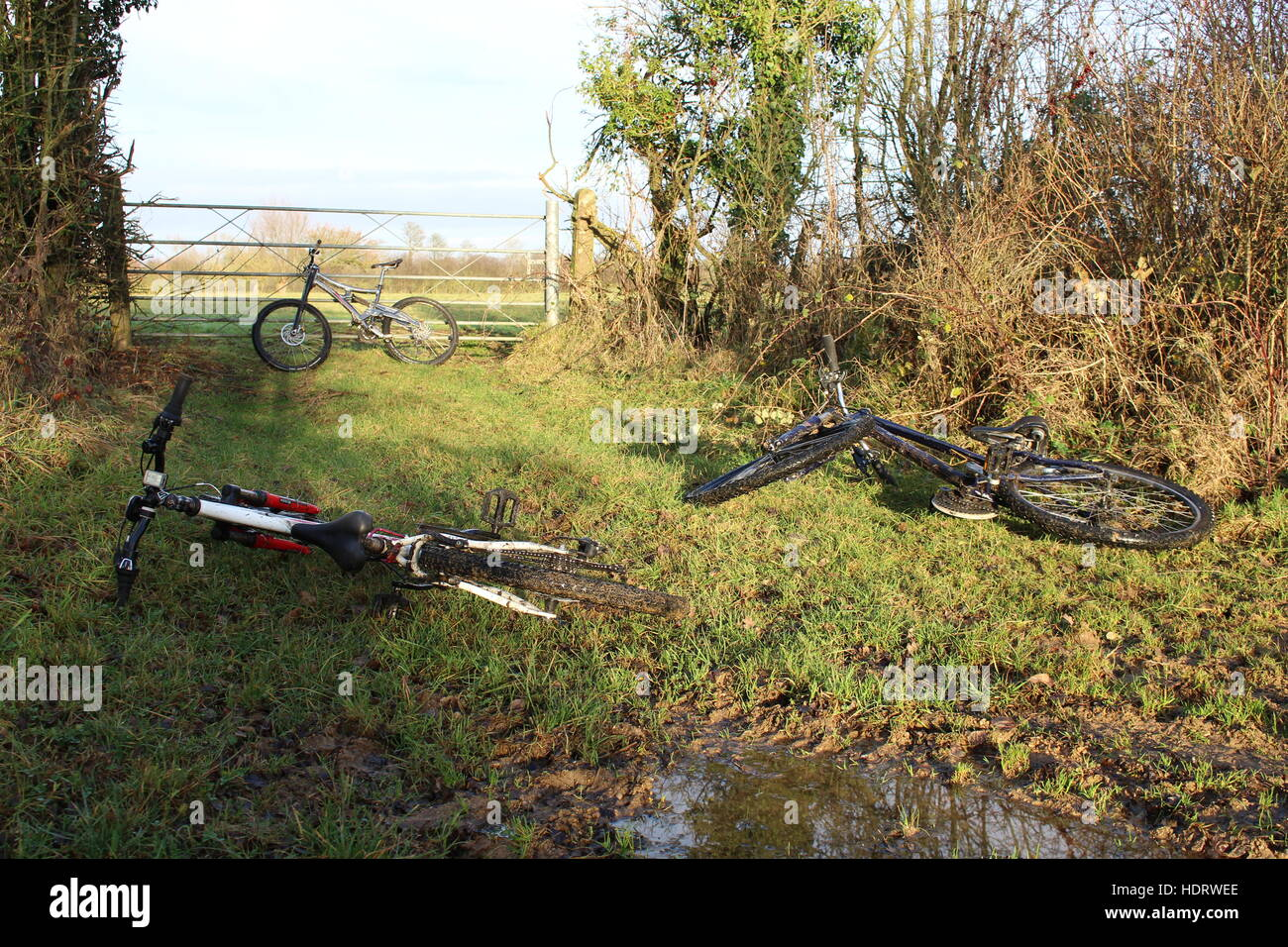 mountain bikes bicycles mtb three leaning resting family ride day out countryside - Stock Image