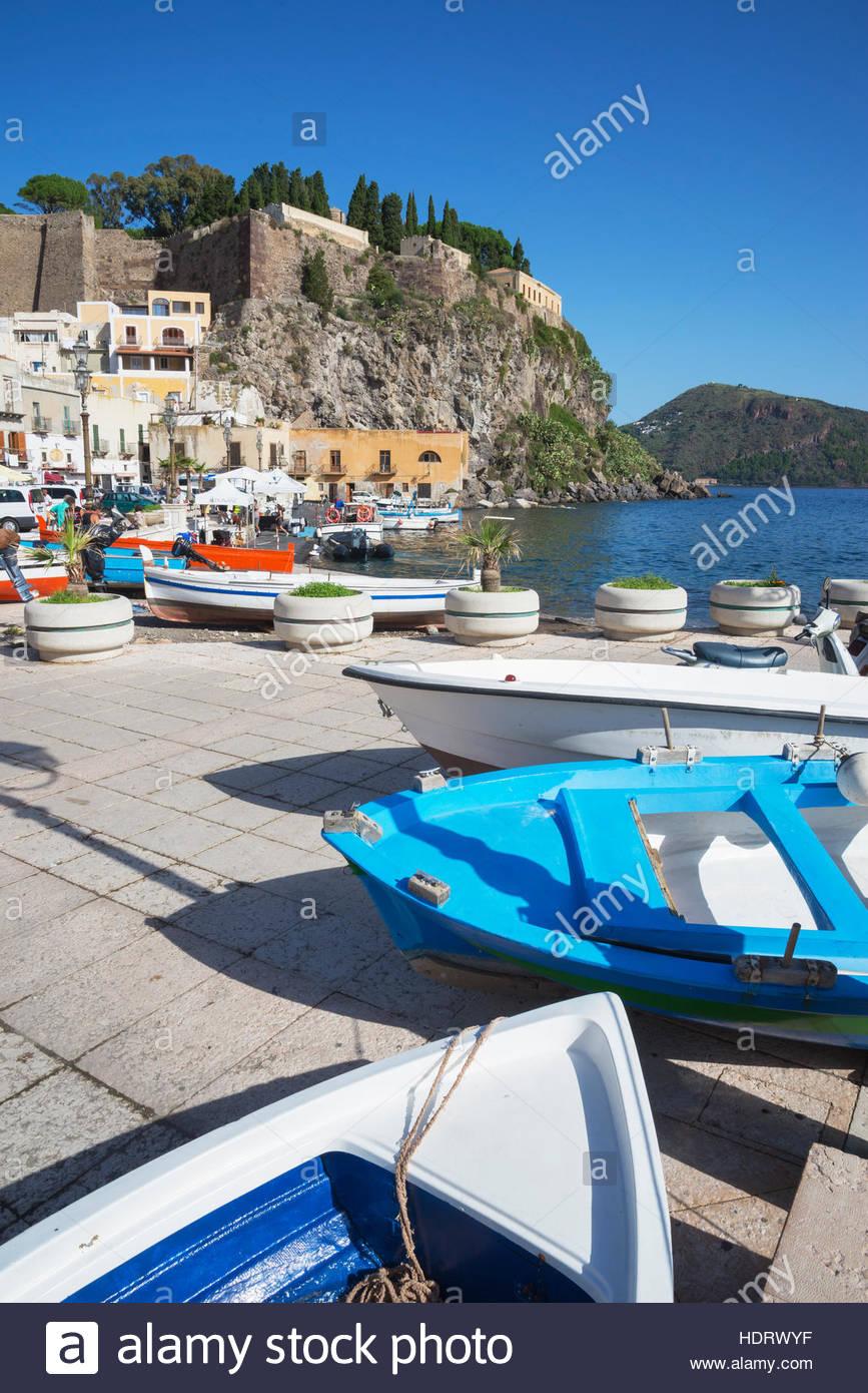 Fishing boats at Marina Corta, Lipari Town, Lipari Island, Aeolian Islands, UNESCO World Heritage Site, Sicily, - Stock Image