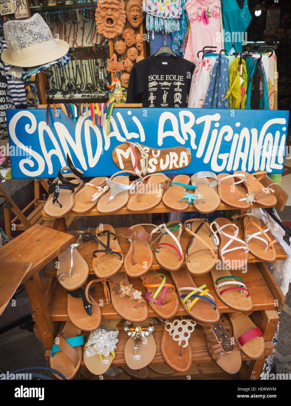 Hand made sandals, Lipari Town, Lipari Island, Aeolian Islands, UNESCO World Heritage Site, Sicily, Italy, Mediterranean, - Stock Image