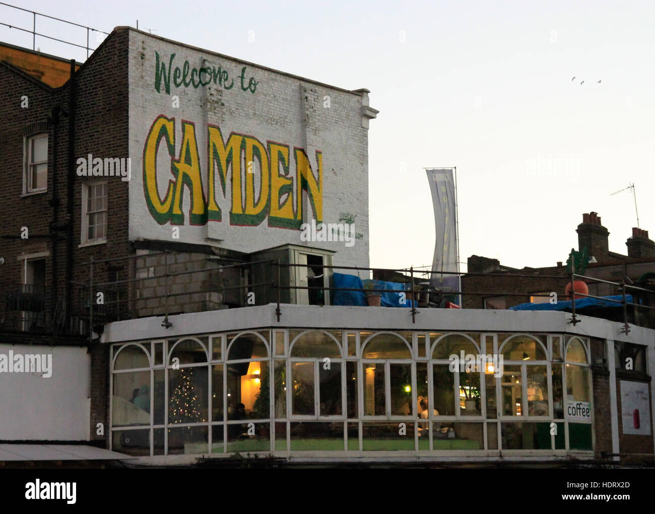 Welcome to Camden sign on gable wall Camden High Street Camden Lock Regent's Canal London NW1 - Stock Image