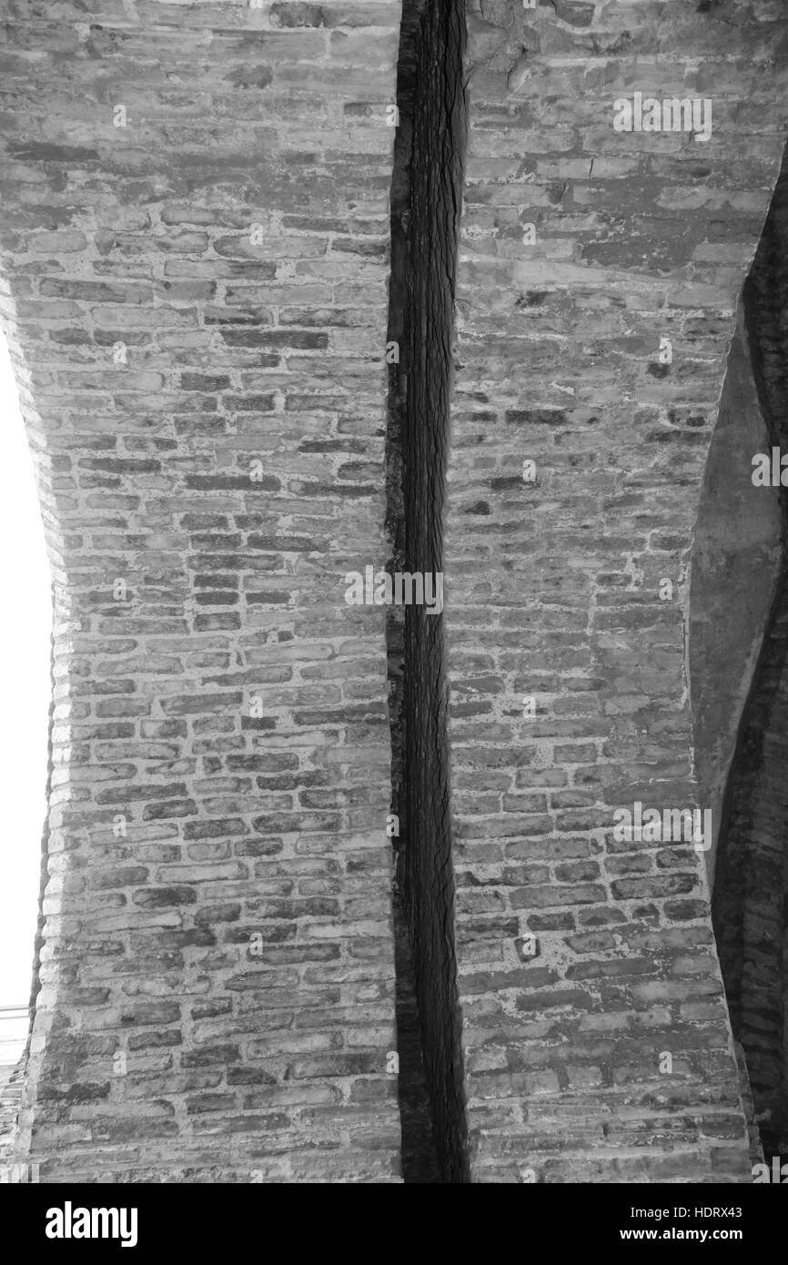 Portcullis slot groove from underneath in brick arch of medieval gateway built 1409 North Bar, Beverley, Yorkshire, - Stock Image