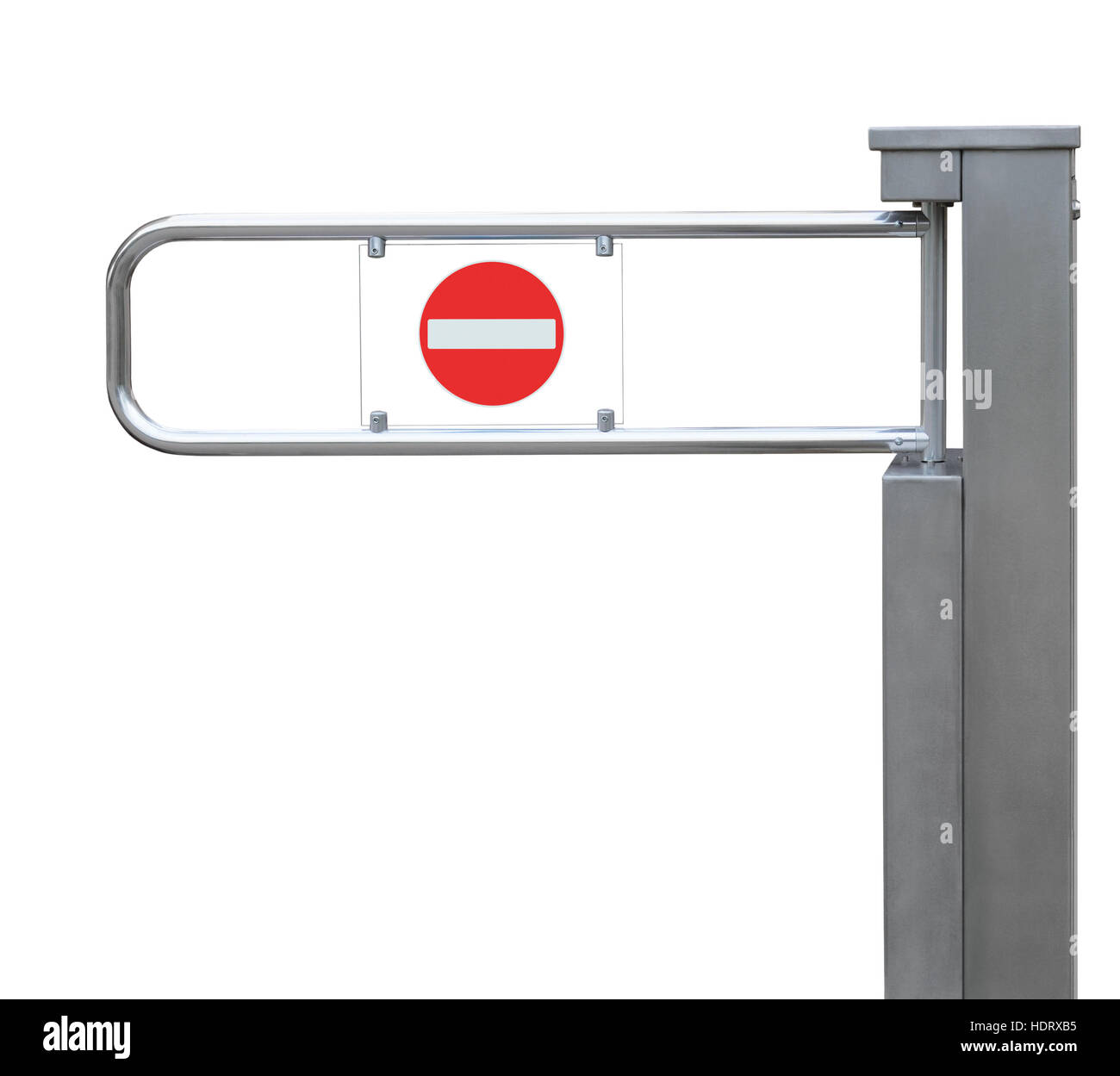 Entrance tourniquet, detailed turnstile, stainless steel, red no entry sign, isolated closeup, access control concept - Stock Image