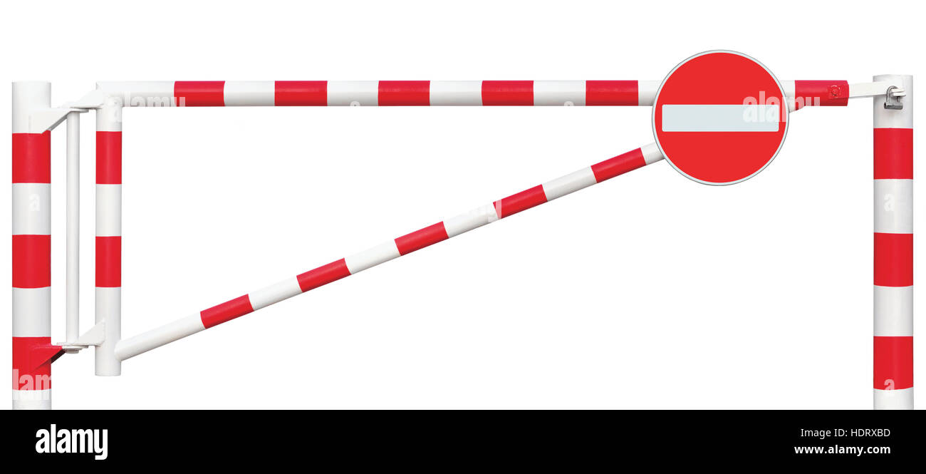Gated Road Barrier Closeup, No Entry Sign, Roadway Gate Bar In Bright White And Red, Traffic Stop Block And Vehicle - Stock Image