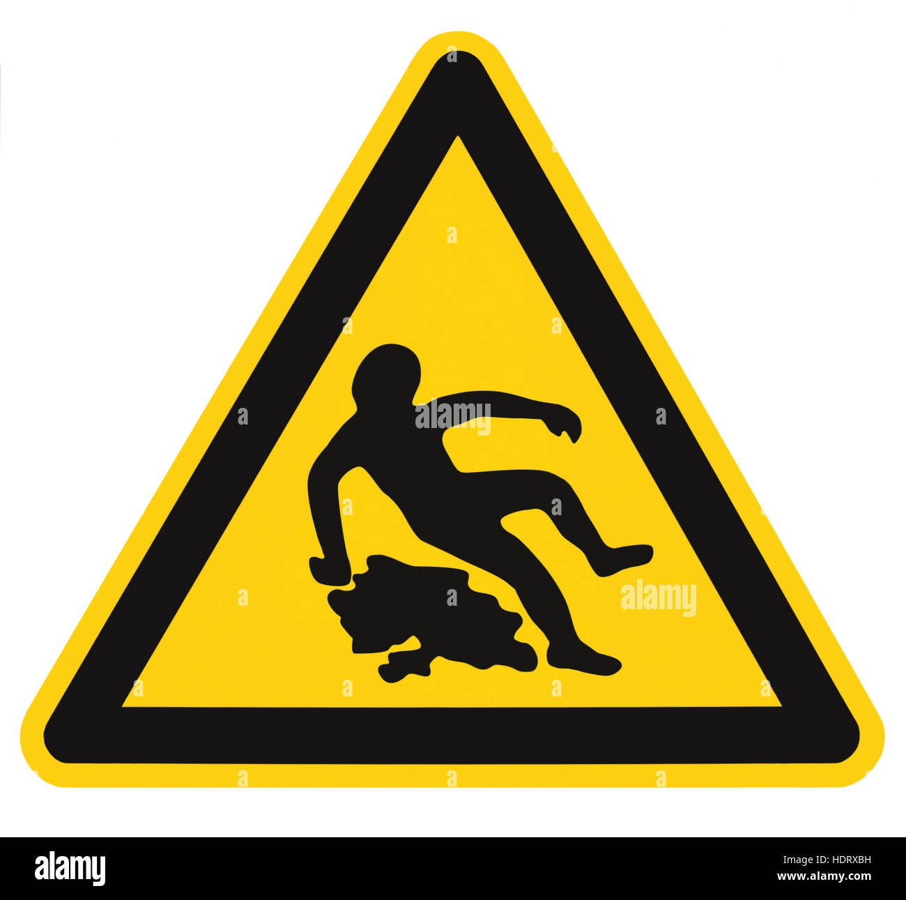 Caution Slippery When Wet Text Sign, Black Yellow Isolated Floor Surface Area Danger Warning Triangle Safety Icon - Stock Image