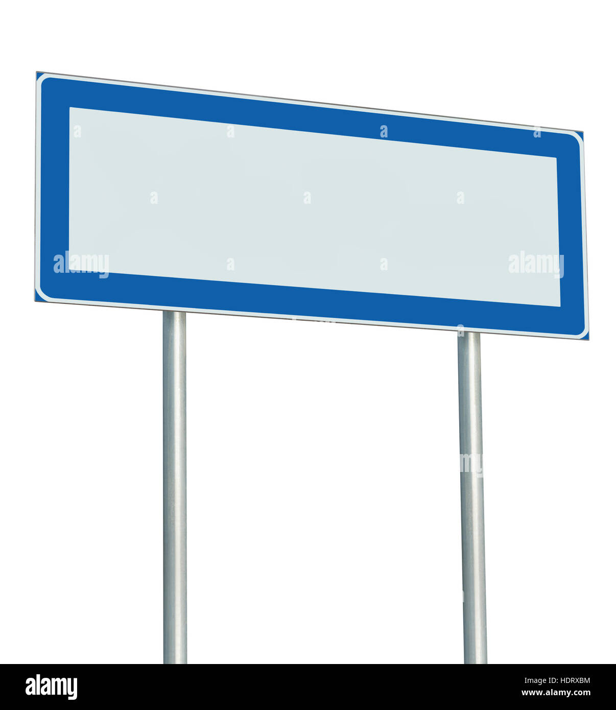Information Road Sign Isolated, Blank Empty Signpost Copy Space For Icons, Pictograms, Large Roadside Info Signage - Stock Image