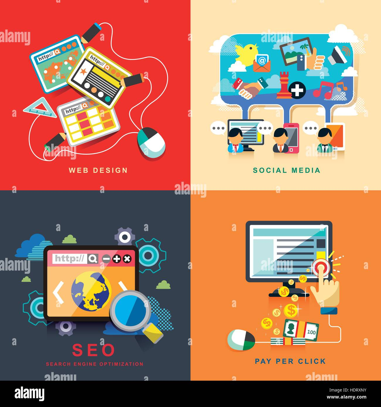 Flat Design Concept Of Web Design Seo Social Media And Pay Per Stock Vector Image Art Alamy