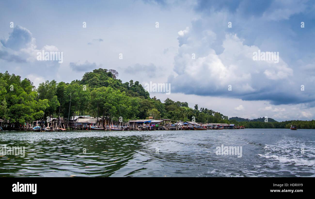 Boating to Koh Muk island, Thailand - Stock Image