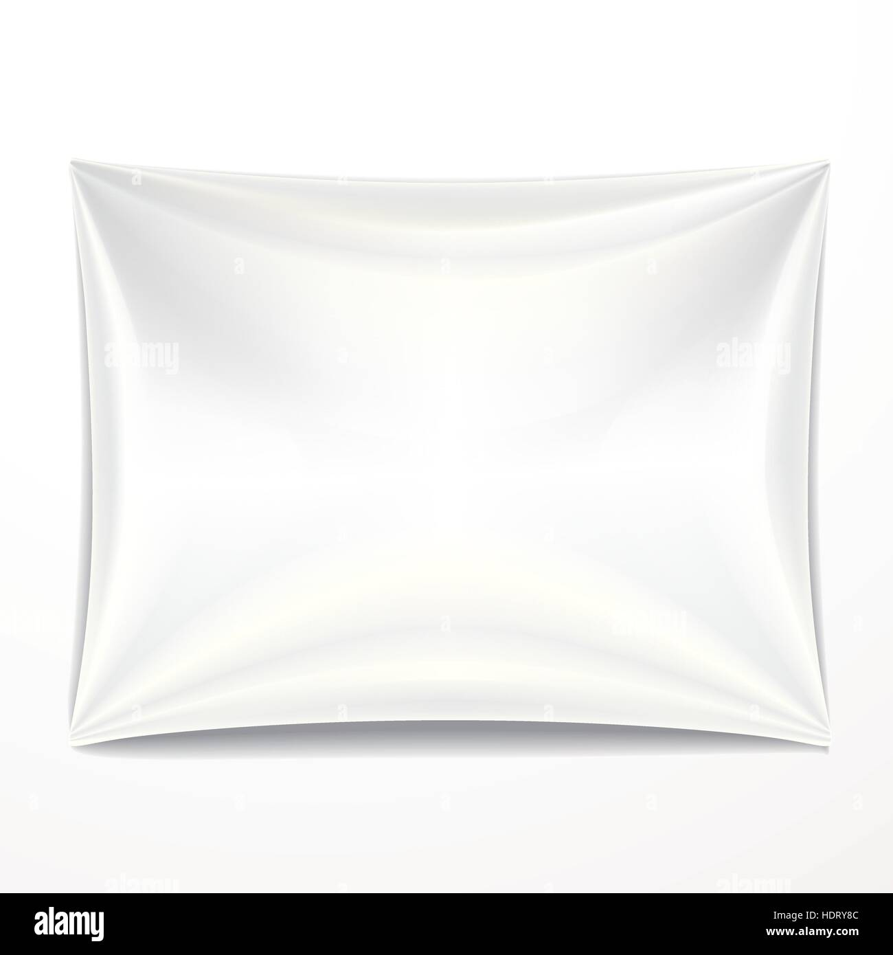 white textile banner with folds over white background - Stock Vector