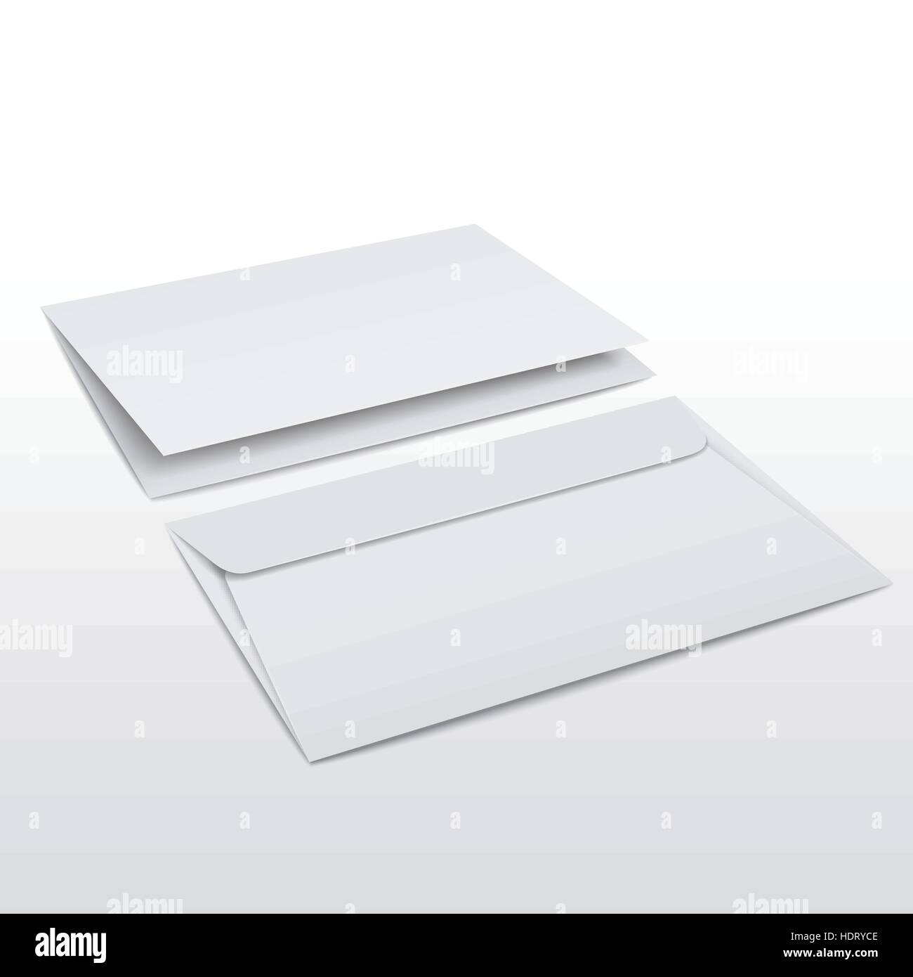 blank envelope and letter template isolated on white stock vector