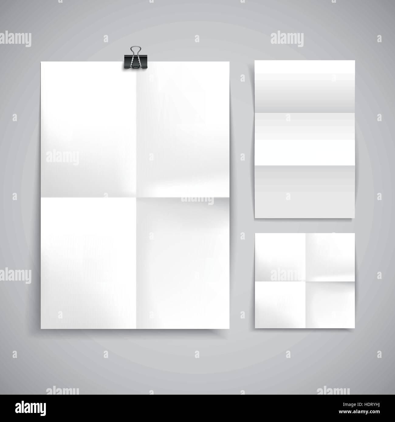 Paper Blank Brochure Template Hanging Over Wall Stock Vector Art