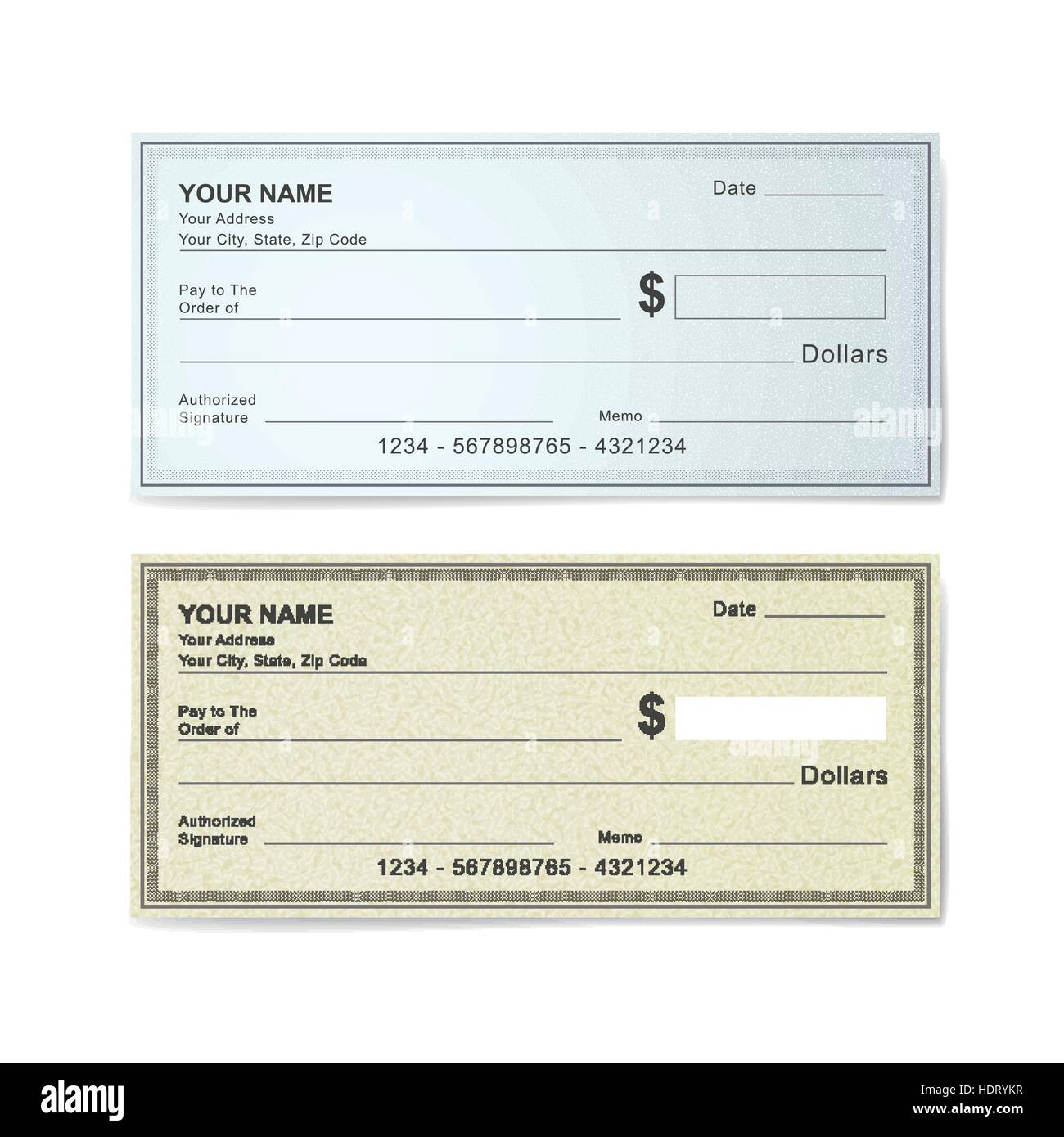blank bank check template isolated on white stock vector art