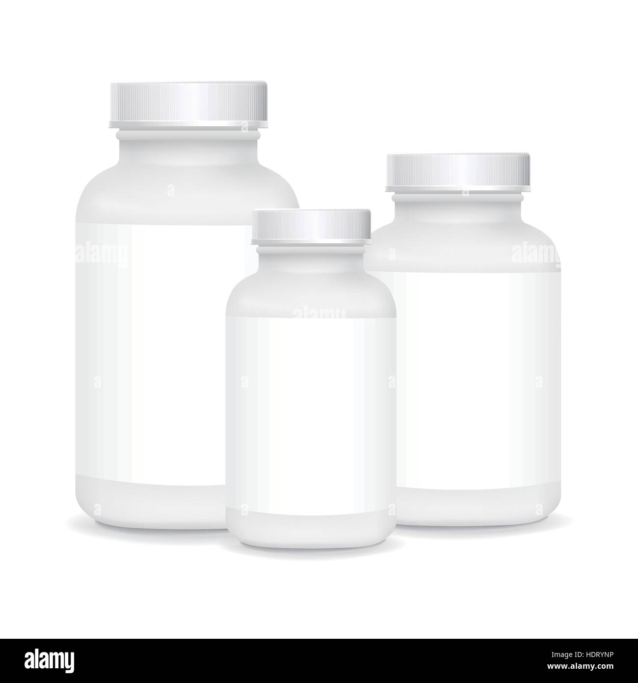 white plastic medical containers isolated on white background - Stock Vector