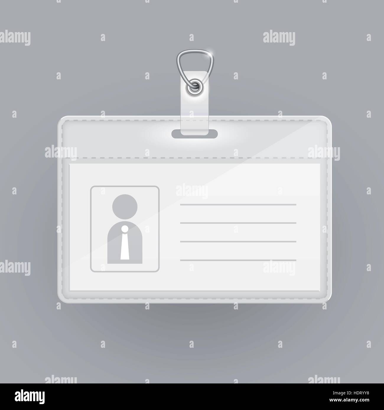blank identification card template isolated on grey stock vector art