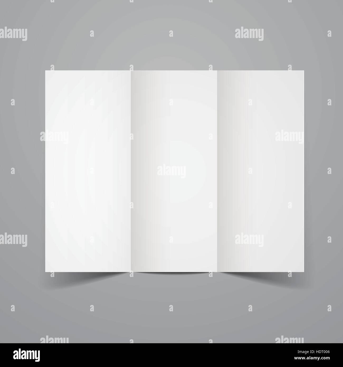 blank tri fold brochure design isolated on grey stock vector art